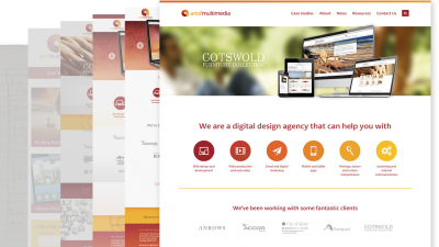 Image depicting the many designs that led to the final AOM website design